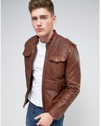Pepe Jeans Pepe Artisan Leather Jacket Caramel - Brown