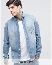 Brooklyn Supply Co. - Ripped Distressed Mid Wash Shirt - Lyst