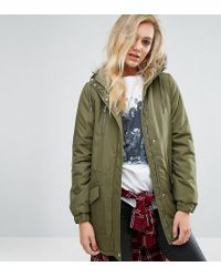 Noisy May Tall - Parka Jacket With Faux Fur Trim Hood - Lyst