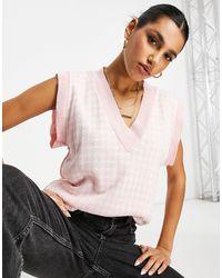 Naanaa Розовый Трикотажный Жилет С Узором «гусиная Лапка» -розовый Цвет