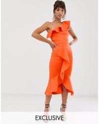 True Violet Vestido ajustado asimétrico con volantes en naranja exclusivo