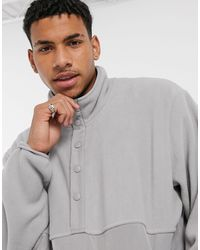 New Look Funnel Neck Sweat With Poppers - Gray