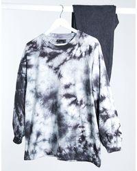 ASOS T-shirt oversize à manches longues - Effet tie-dye monochrome - Bleu
