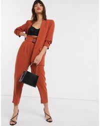 Stradivarius Paperbag Trousers With Belt - Orange