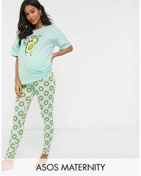 ASOS Asos Design Maternity - Exclusieve Set Van T-shirt En legging Met Zon Die Uit Avocado Komt - Blauw