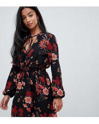 905c17f16707 Miss Selfridge - Tea Dress With Blouson Sleeves In Floral Print - Lyst