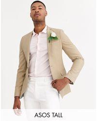ASOS Tall Wedding Super Skinny Blazer - Natural