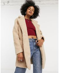 ONLY Longline Button Front Coat - Natural