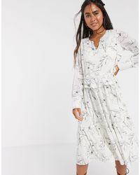 Y.A.S Свободное Белое Платье Миди С Абстрактным Принтом -мульти - Белый