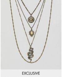 Reclaimed (vintage) - Multi Layered Necklaces In Burnished Gold With Snake And Coin - Lyst