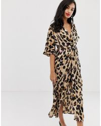 10c9dfef95 Liquorish - Twist Front Satin Midi Dress In Leopard Print - Lyst