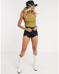 TOPSHOP Racer Neck Knitted Top - Green