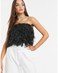 ASOS Faux Feather Bandeau Top - Black