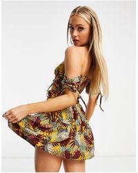 South Beach Кроп-топ Со Спущенными Плечами И Мини-юбка Со Сборками -многоцветный