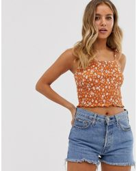 New Look - Shirred Cami In Floral Pattern - Lyst
