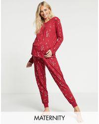 Chelsea Peers Maternity - Pigiama lungo con stelle laminate - Rosso