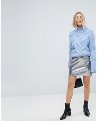 ONLY - Leather Look Metallic Mini Skirt - Lyst