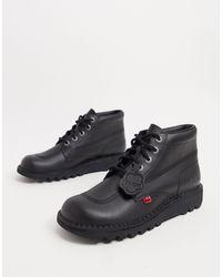 Kickers Черные Кожаные Высокие Ботинки -черный