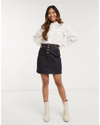 Oasis Button Front Denim Skirt - Black