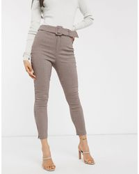 Stradivarius Tailored Pant With Belt - Grey