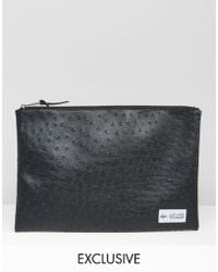Hype - Exclusive Pouch In Faux Ostrich Leather - Lyst