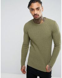 ASOS - Asos Muscle Fit Textured Jumper In Khaki - Lyst