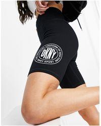 DKNY Pantaloncini a vita alta con logo a medaglia - Nero