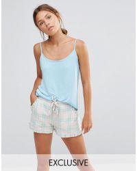 Chelsea Peers - Checked Short & Tee Pyjama Set - Pink - Lyst