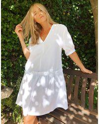 Monki - Белое Свободное Платье Из Органического Хлопка -белый - Lyst