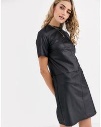 New Look Pocket Detail Leather Look Smock Dress - Black