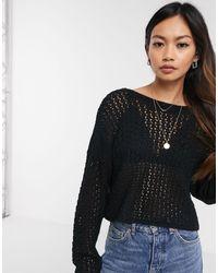 ASOS – Pullover mit Häkeldesign und rückseitigem Bindeband - Schwarz