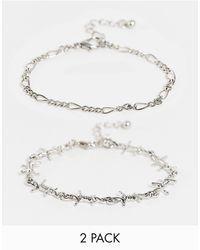 ASOS Набор Из 2 Серебристых Браслетов С Колючим Дизайном - Металлик