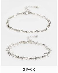 ASOS Pack Of 2 Bracelets With Barbed Wire Design - Metallic