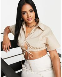 Public Desire Ruched Hem Short Sleeve Shirt - Natural
