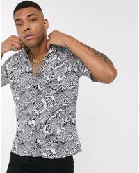 Jack & Jones Originals Revere Collar Animal Print Shirt - White