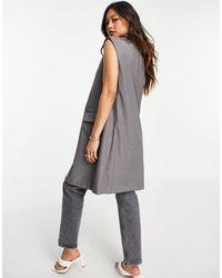 Mango Sleeveless Long Blazer - Grey