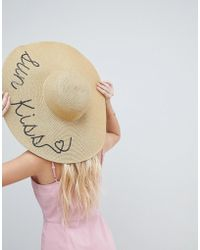 ASOS - Straw Metallic Floppy Hat With Sun Kiss Sequin Print And Size Adjuster - Lyst