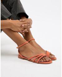 Mango - Faux Suede Strappy Sandal In Orange - Lyst