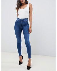 ASOS Ridley - Skinny Jeans Met Hoge Taille - Blauw