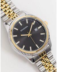 Sekonda Часы-браслет Из Комбинированных Металлов С Черным Циферблатом -многоцветный - Черный