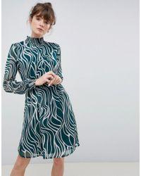Ichi - High Neck Printed Dress - Lyst