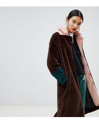 NA-KD Faux Fur Midi Colour Block Coat In Brown