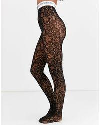 Calvin Klein The Conversational - Kanten Panty Met Logo - Zwart