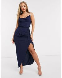 AX Paris Vestido largo con cuello desbocado en azul marino