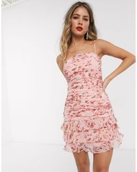 Bardot Ruched Cami Mini Dress With Tiered Hem - Pink