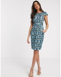 Closet Cap Sleeve wiggle Dress - Blue