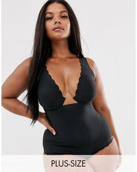 Figleaves Body reductor con aros expuestos en negro Smoothing Luxe