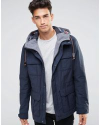 Benetton Parka With Fair Isle Knitted Hood Lining - Blue