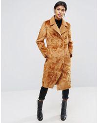 ASOS - Longline Panelled Faux Fur Coat - Lyst