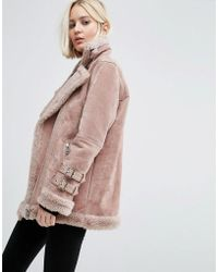 ASOS Suede Aviator Jacket With Faux Shearling - Pink